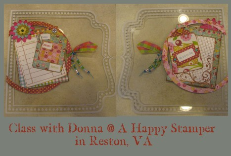 Back and front of the cover page - clear page pre-printed with the dot border and lines.  i LOVE the way donna does her ribbon and the beads are a really cute touch too!