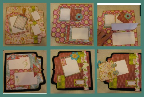 these are pics of pages 2 & 3 back n front.  there are flaps on both backs so i took a pic with flaps closed and then open.  donna makes all sorts of different paper hinge configuration which i find fascinating!  She also does amazing things with tags but i did not get to those pages yet!